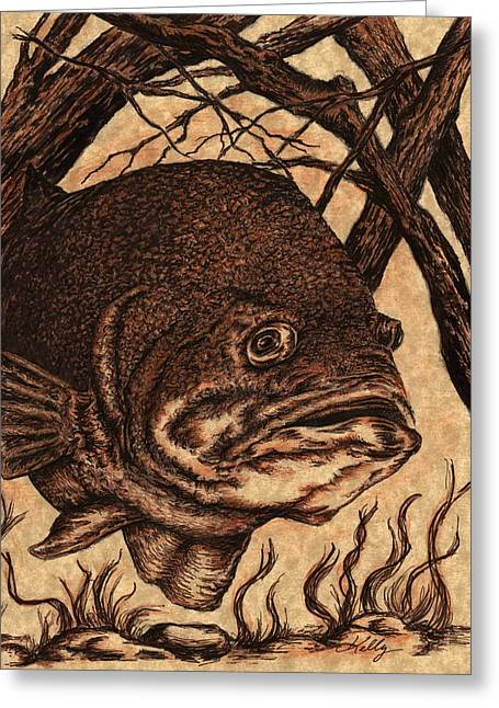 Largemouth Bass Greeting Card by Kathleen Kelly Thompson