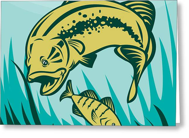 largemouth bass preying on perch fish Greeting Card by Aloysius Patrimonio
