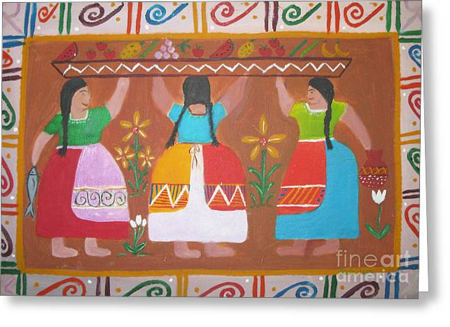 Canoe Paintings Greeting Cards - Las Comadres Greeting Card by Sonia Flores Ruiz