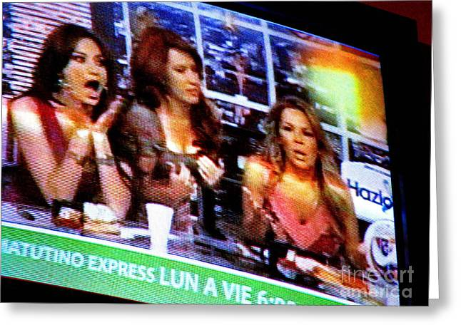 Las TV Chicas by Michael Fitzpatrick Greeting Card by Olden Mexico