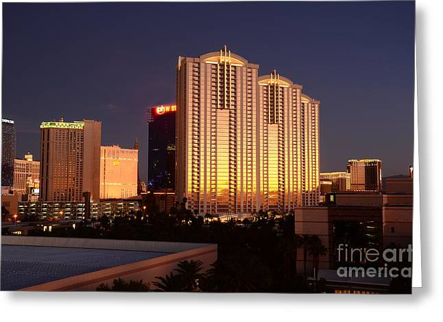 City Lights Greeting Cards - Las Vegas Morning Greeting Card by Timothy OLeary