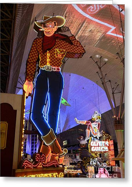 Freemont Street Greeting Cards - Las Vegas Neon Greeting Card by Bob Christopher