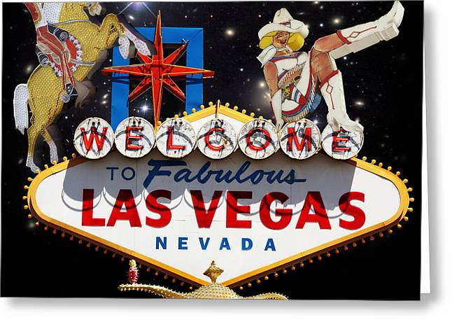 Glitter Gulch Greeting Cards - Las Vegas Symbolic Sign Greeting Card by Gravityx Designs