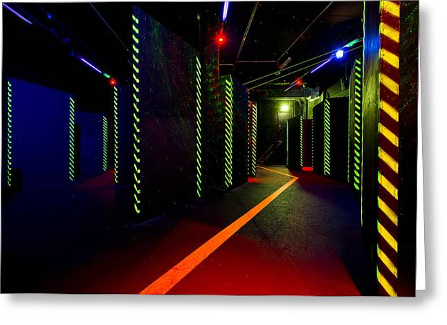 Electrical Equipment Greeting Cards - Laser Game Area With Obstacles Greeting Card by Corepics