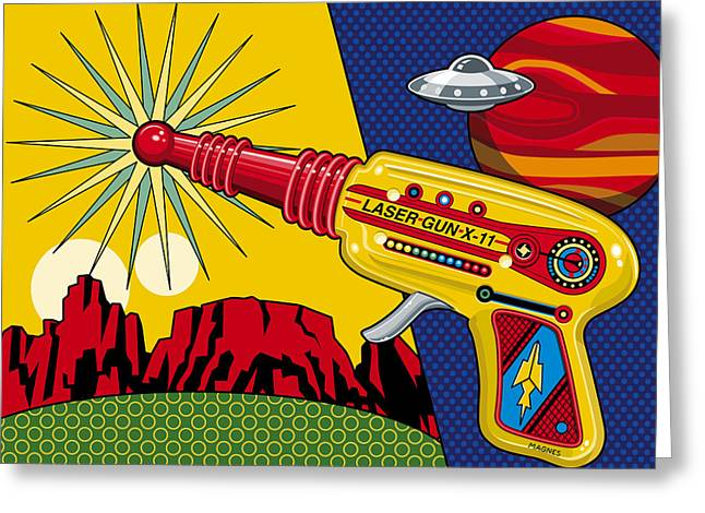 Toys Greeting Cards - Laser Gun Greeting Card by Ron Magnes