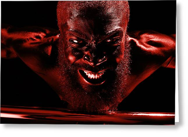 Fitness Model Greeting Cards - Last Bloody Pull Up Greeting Card by Val Black Russian Tourchin