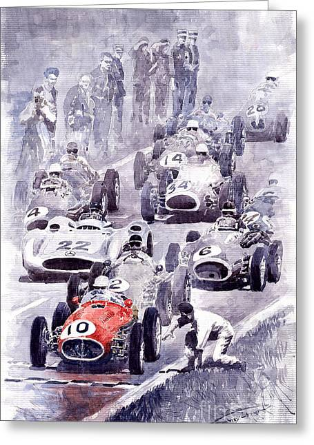 Autos Greeting Cards - Last Control Maserati 250 F France GP 1954 Greeting Card by Yuriy  Shevchuk