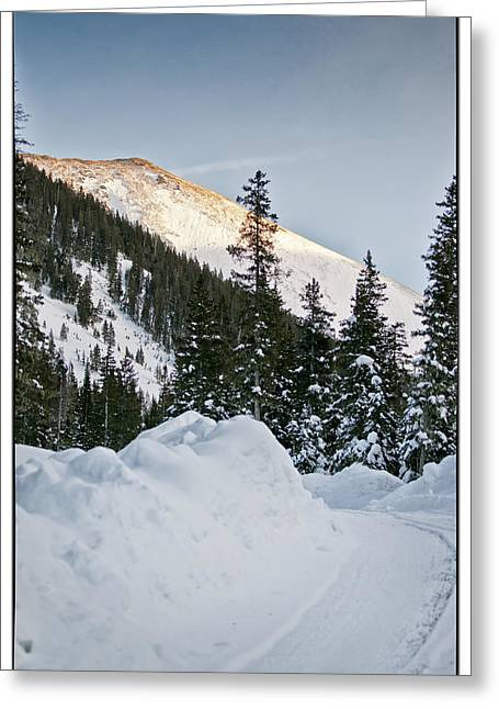 Road Covered With Snow Greeting Cards - Last Glance At The Mountain Greeting Card by Lisa  Spencer