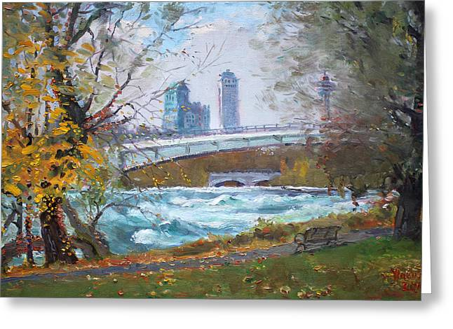 Autumn Landscape Paintings Greeting Cards - Last Leaves  Greeting Card by Ylli Haruni