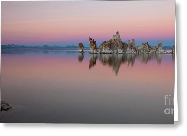 Calm Water Reflection Greeting Cards - Last light at Mono Lake Greeting Card by Keith Kapple