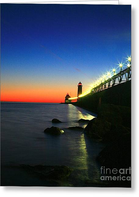 Beach Photograph Greeting Cards - Last Light Grand Haven Michigan Greeting Card by Robert Pearson