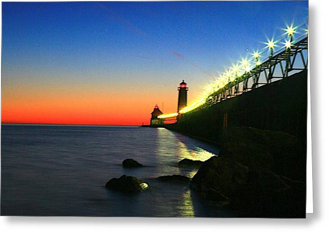 Last Light Grand Haven Michigan Greeting Card by Robert Pearson