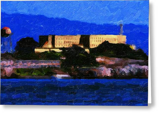 Blue Sailboats Greeting Cards - Last Light Over Alcatraz . Panorama Cut Greeting Card by Wingsdomain Art and Photography
