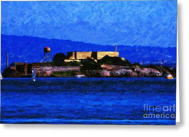 Alcatraz Greeting Cards - Last Light Over Alcatraz Greeting Card by Wingsdomain Art and Photography