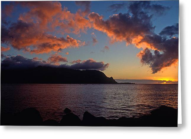 Sunset Prints Greeting Cards - Last Light over Bali Hai Greeting Card by Kathy Yates