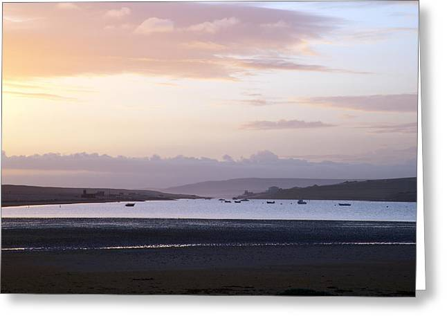 Summer Squall Greeting Cards - Last light over Chesil Beach Greeting Card by Michael Stretton