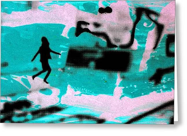 Last minute - Digital art neon colors Greeting Card by Arte Venezia