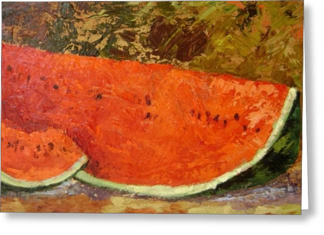 Watermelon Greeting Cards - Last of Summer Greeting Card by Ginger Concepcion
