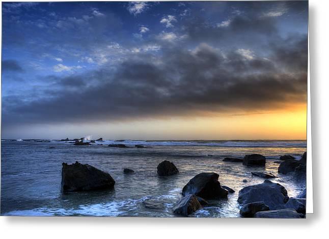 Half Moon Bay Digital Greeting Cards - Last Ray Greeting Card by Alex Shamis