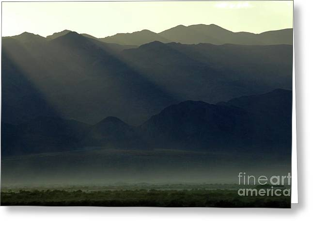 Mountains Of Sand Greeting Cards - Last Rays Greeting Card by Bob Christopher