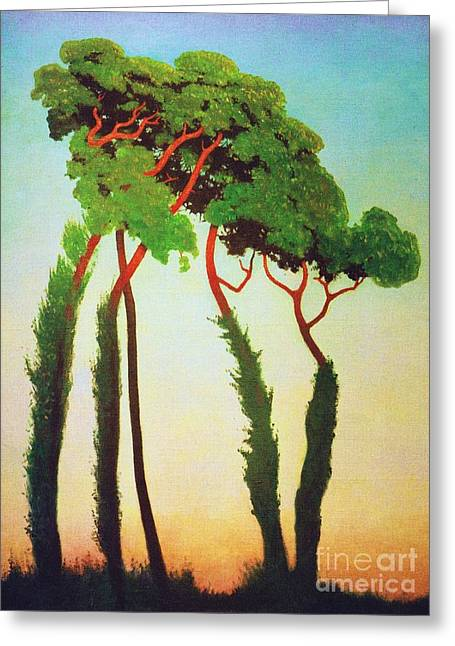 Swiss Paintings Greeting Cards - Last  Sunrays Greeting Card by Pg Reproductions