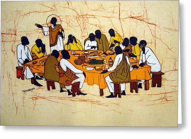 Last Supper Tapestries - Textiles Greeting Cards - Last Supper Greeting Card by Joseph Kalinda
