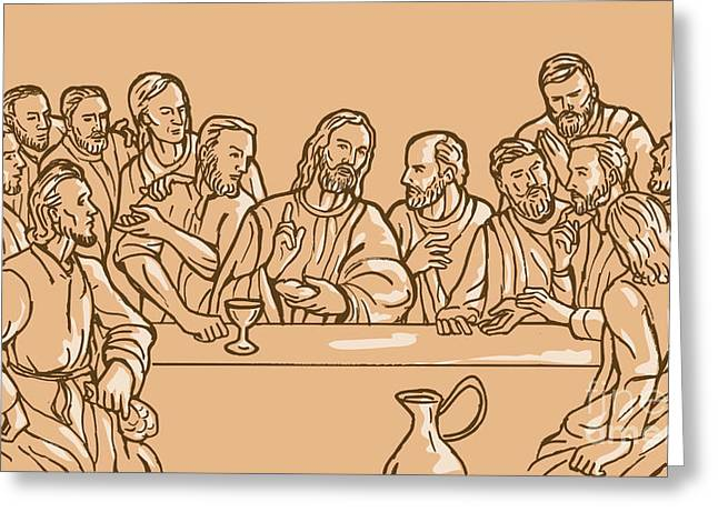 Table Wine Greeting Cards - last supper of Jesus Christ Greeting Card by Aloysius Patrimonio