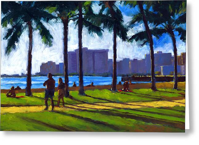 Coconut Palm Tree Greeting Cards - Late Afternoon - Queens Surf Greeting Card by Douglas Simonson