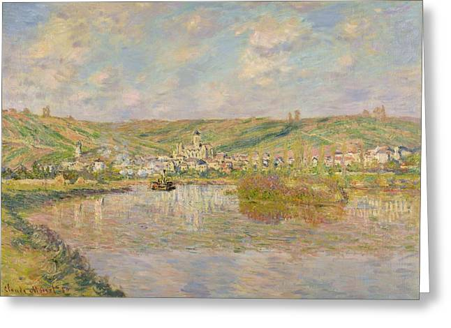 Midi Greeting Cards - Late Afternoon - Vetheuil Greeting Card by Claude Monet