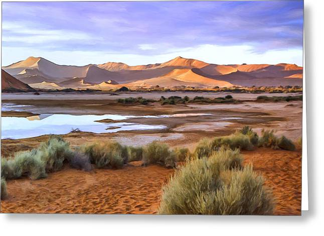 Sand Dunes Paintings Greeting Cards - Late Afternoon Rain Greeting Card by Dominic Piperata