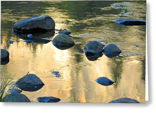 Late Afternoon Reflections in Merced River in Yosemite Valley Greeting Card by Greg Matchick
