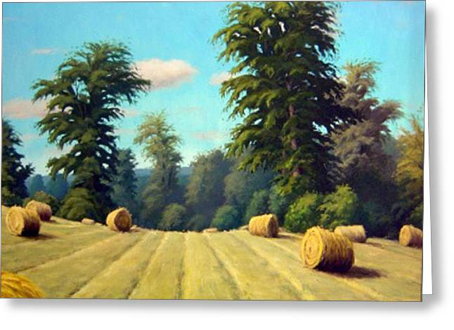 Bailing Hay Greeting Cards - Late August Hay Greeting Card by Rick Hansen