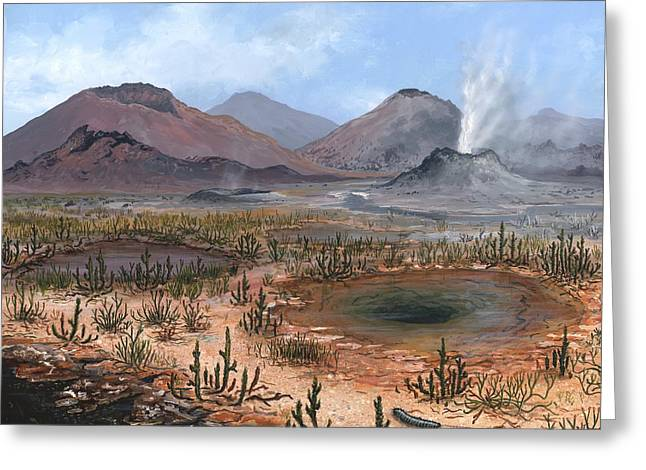Aquatic Bacteria Greeting Cards - Late Devonian Landscape, Artwork Greeting Card by Richard Bizley