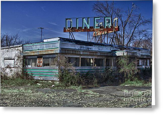 Empty Greeting Cards - Late for dinner. Abandoned empty diner. Greeting Card by Robert Wirth