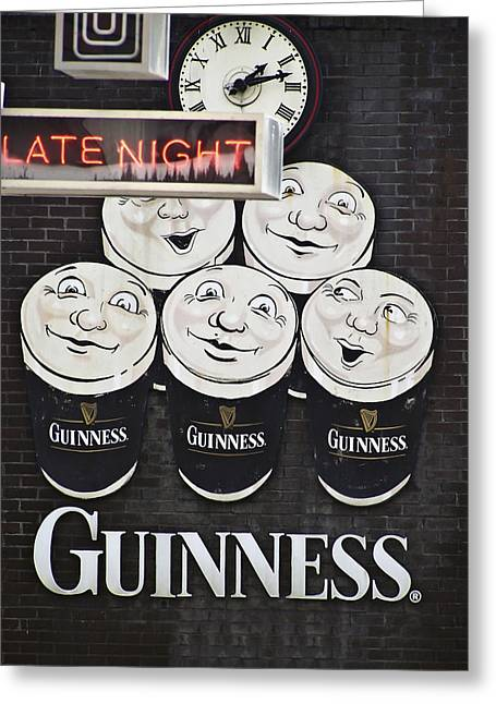 Limerick Greeting Cards - Late Night Guinness Limerick Ireland Greeting Card by Teresa Mucha