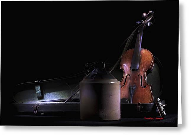 Violin Case Greeting Cards - Late Nites Greeting Card by Timothy J Berndt