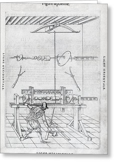 Manufacturing Greeting Cards - Lathe, 16th Century Artwork Greeting Card by Middle Temple Library