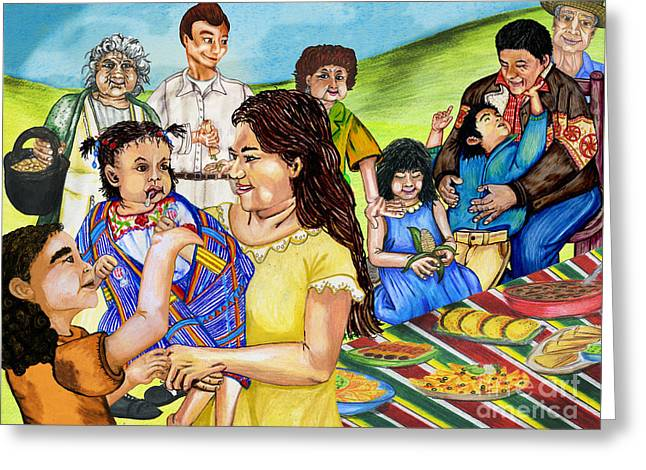 Picnic Pastels Greeting Cards - Latino Family Picnic Greeting Card by Laura Brightwood