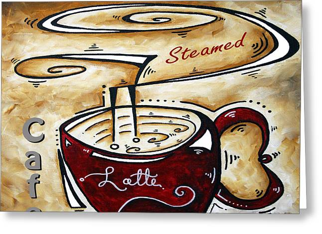 Whimsical Mixed Media Greeting Cards - Latte Original Painting MADART Greeting Card by Megan Duncanson