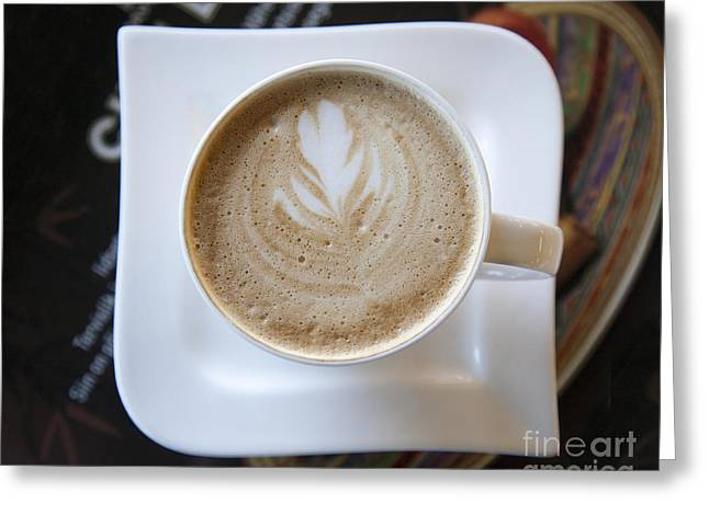 Latte With a Leaf Design Greeting Card by Jaak Nilson