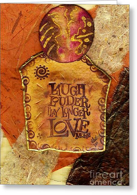 Polymer Clay Greeting Cards - Laugh Greeting Card by Angela L Walker