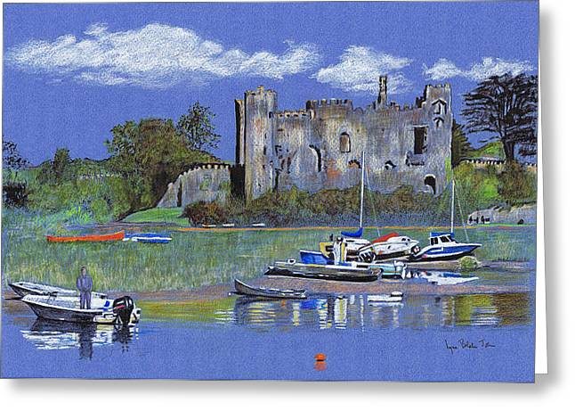 Canoe Drawings Greeting Cards - Laugharne Castle  Greeting Card by Lynn Blake-John
