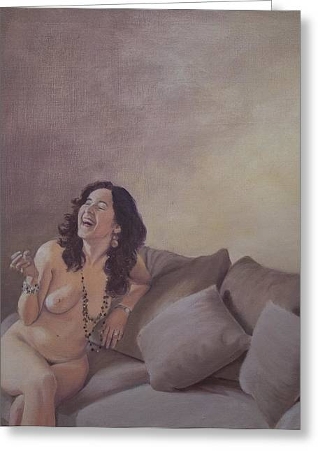 Subdued Hues Greeting Cards - Laughter Greeting Card by Susan Singer