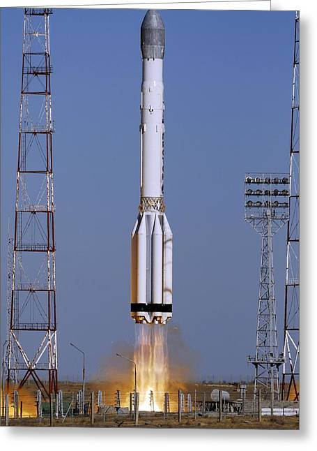 Launch Of Proton-k Rocket Greeting Card by Ria Novosti
