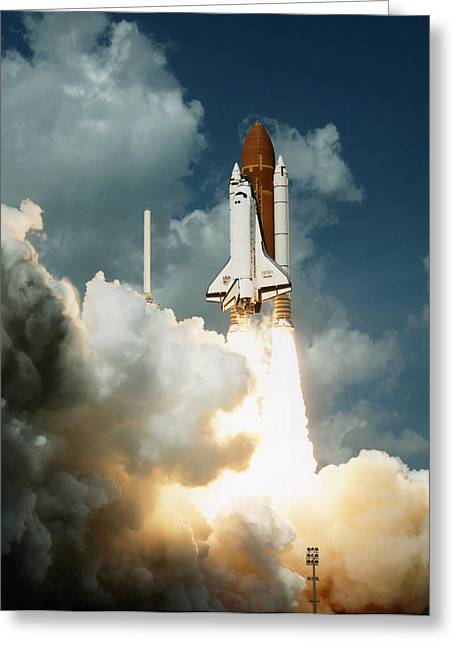 Atlantis Greeting Cards - Launch Of Shuttle Atlantis On Sts-34 Greeting Card by Nasa