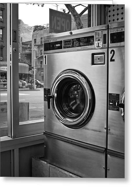 Darren Greeting Cards - Laundromat Greeting Card by Darren Martin