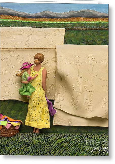 3d Artist Greeting Cards - LAUNDRY - Crop Of Original - To See Complete Artwork Click View All Greeting Card by Anne Klar