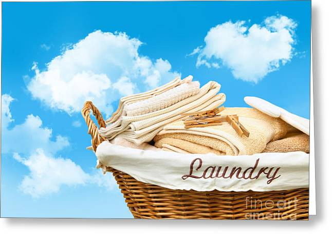 Basket Digital Art Greeting Cards - Laundry basket  against a blue sky Greeting Card by Sandra Cunningham