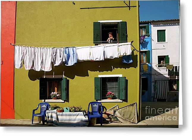 Europe Mixed Media Greeting Cards - Laundry Day in Burano II Greeting Card by Louise Fahy