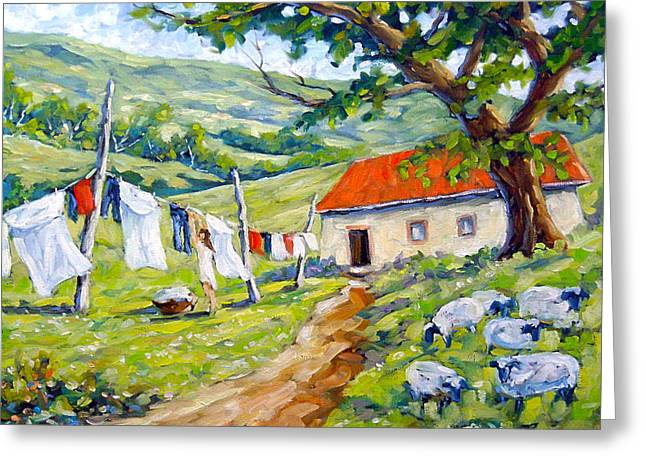 Birch Tree Greeting Cards - Laundry Day Greeting Card by Richard T Pranke